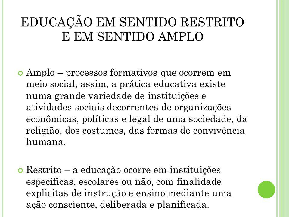 EDUCAÇÃO EM SENTIDO RESTRITO E EM SENTIDO AMPLO