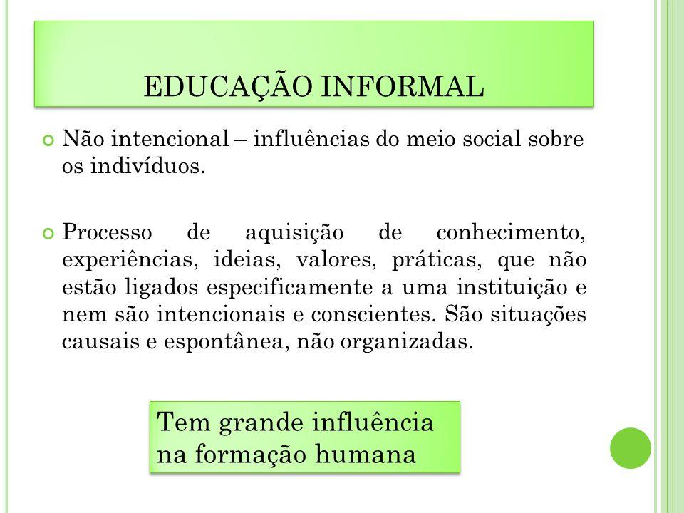 EDUCAÇÃO INFORMAL Tem grande influência na formação humana