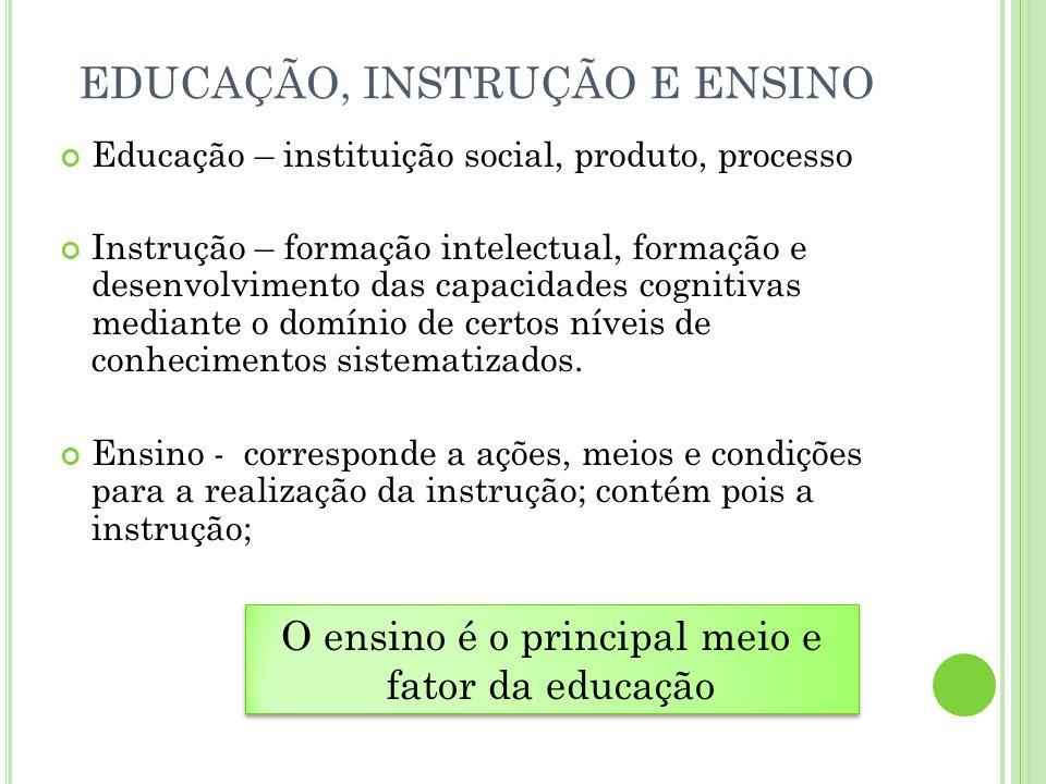 EDUCAÇÃO, INSTRUÇÃO E ENSINO
