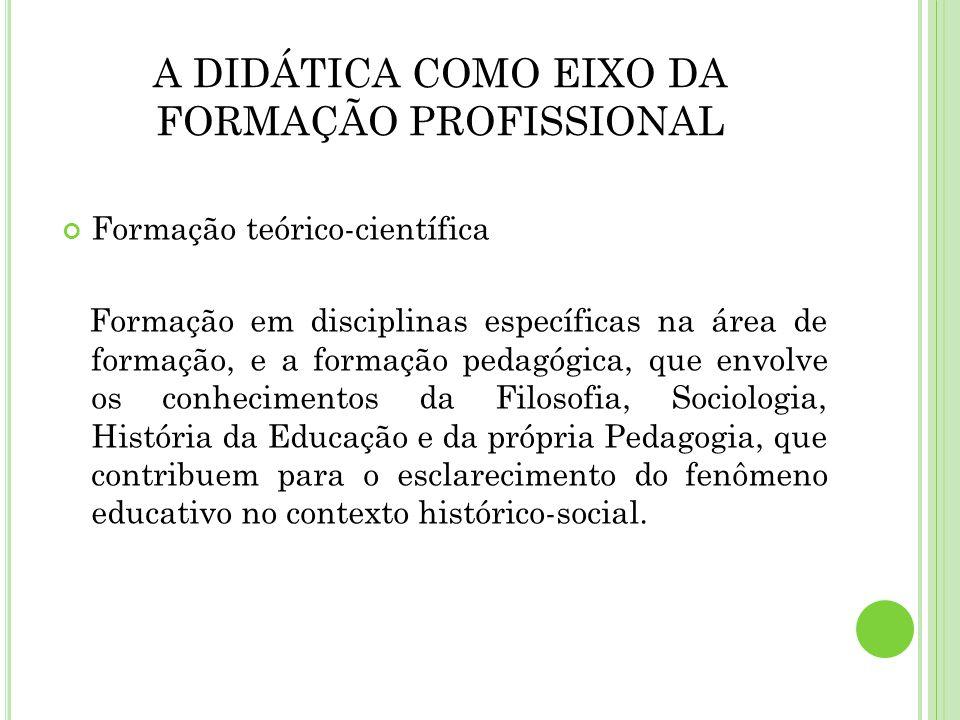 A DIDÁTICA COMO EIXO DA FORMAÇÃO PROFISSIONAL