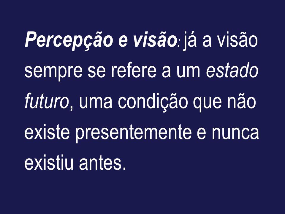 Percepção e visão: já a visão sempre se refere a um estado futuro, uma condição que não existe presentemente e nunca existiu antes.