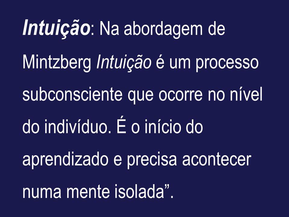 Intuição: Na abordagem de Mintzberg Intuição é um processo subconsciente que ocorre no nível do indivíduo.
