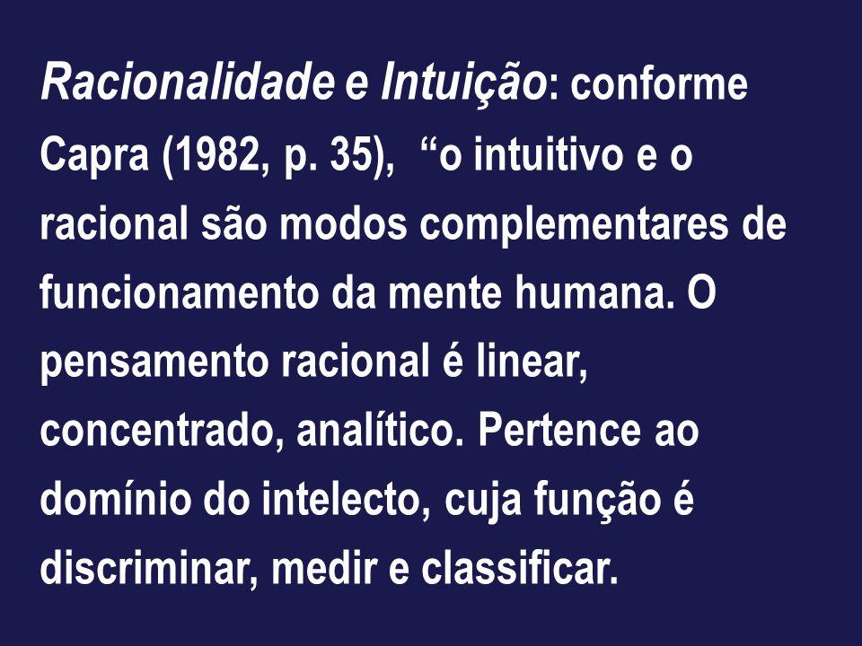 Racionalidade e Intuição: conforme Capra (1982, p