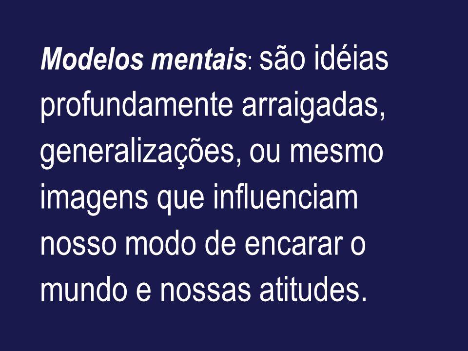 Modelos mentais: são idéias profundamente arraigadas, generalizações, ou mesmo imagens que influenciam nosso modo de encarar o mundo e nossas atitudes.