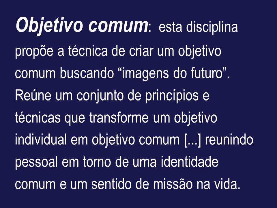 Objetivo comum: esta disciplina propõe a técnica de criar um objetivo comum buscando imagens do futuro .