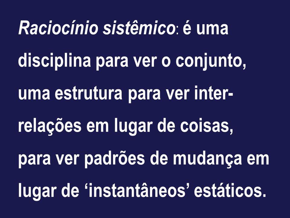 Raciocínio sistêmico: é uma disciplina para ver o conjunto, uma estrutura para ver inter-relações em lugar de coisas, para ver padrões de mudança em lugar de 'instantâneos' estáticos.