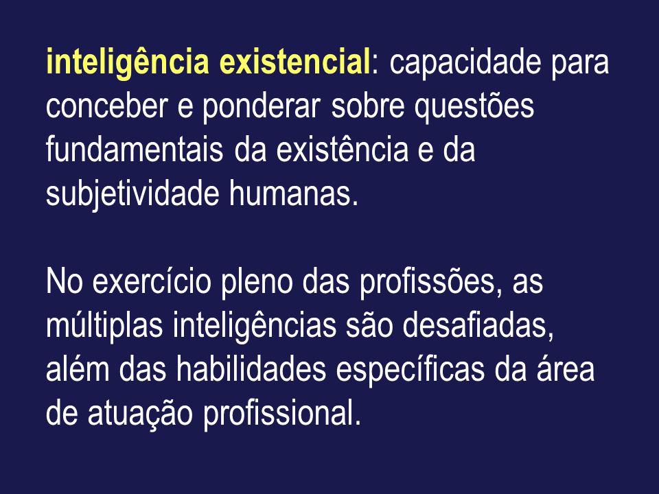 inteligência existencial: capacidade para conceber e ponderar sobre questões