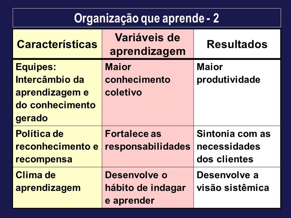 Organização que aprende - 2 Variáveis de aprendizagem