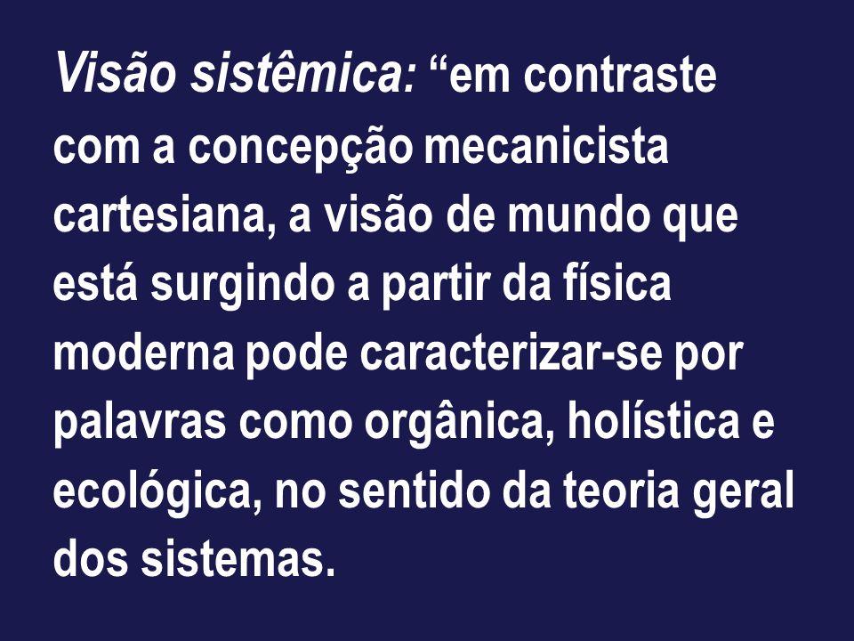 Visão sistêmica: em contraste com a concepção mecanicista cartesiana, a visão de mundo que está surgindo a partir da física moderna pode caracterizar-se por palavras como orgânica, holística e ecológica, no sentido da teoria geral dos sistemas.