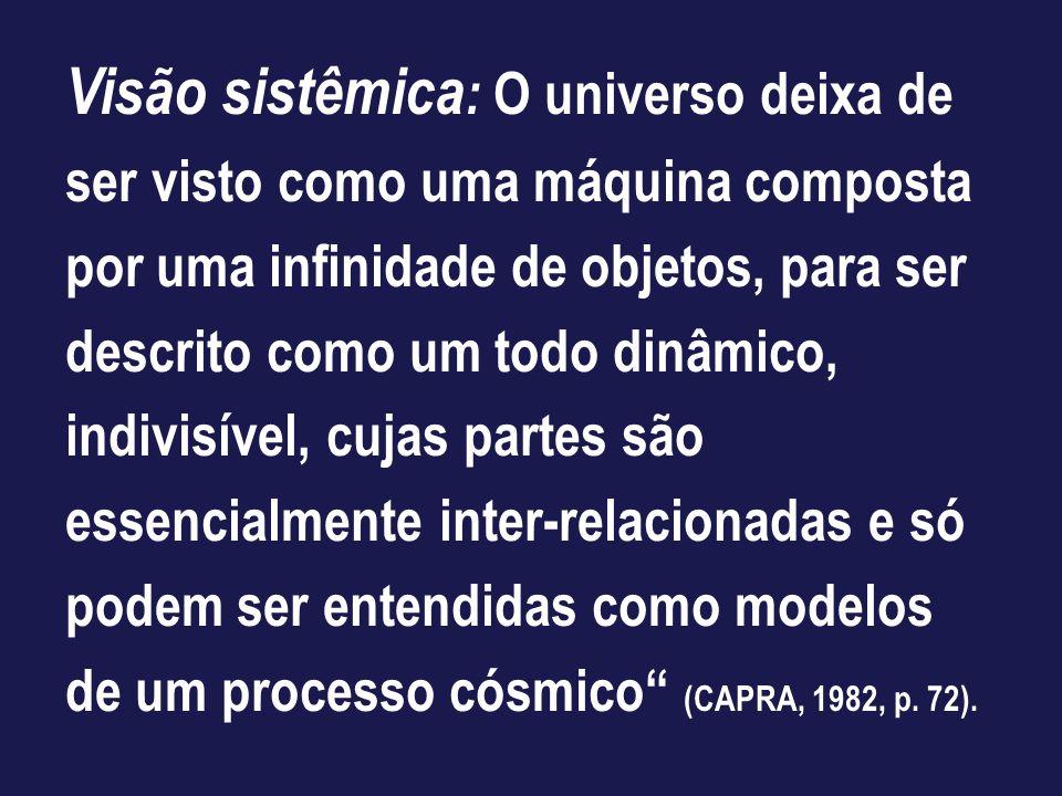 Visão sistêmica: O universo deixa de ser visto como uma máquina composta por uma infinidade de objetos, para ser descrito como um todo dinâmico, indivisível, cujas partes são essencialmente inter-relacionadas e só podem ser entendidas como modelos de um processo cósmico (CAPRA, 1982, p.
