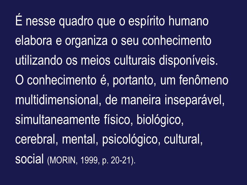 É nesse quadro que o espírito humano elabora e organiza o seu conhecimento utilizando os meios culturais disponíveis.