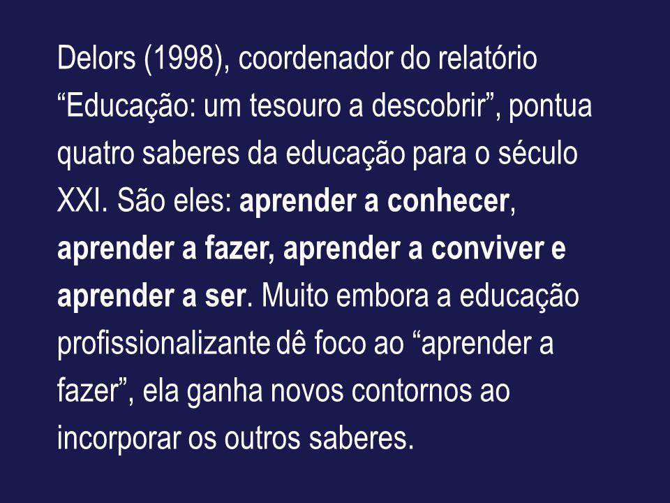 Delors (1998), coordenador do relatório Educação: um tesouro a descobrir , pontua quatro saberes da educação para o século XXI.