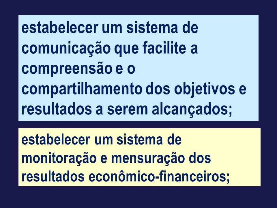 estabelecer um sistema de comunicação que facilite a compreensão e o compartilhamento dos objetivos e resultados a serem alcançados;
