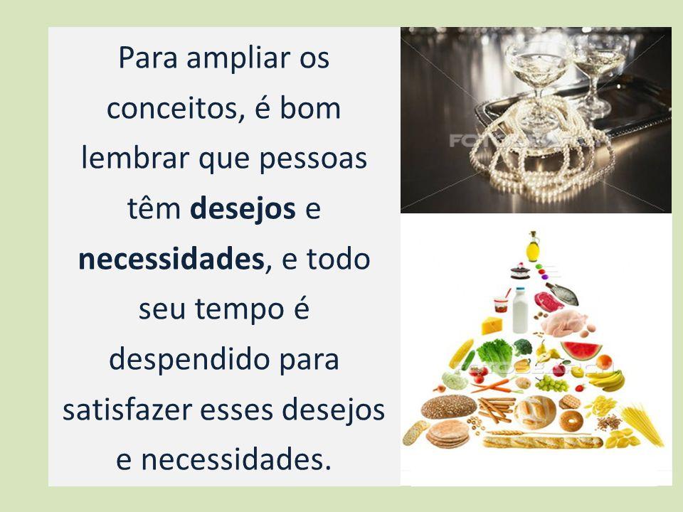 Para ampliar os conceitos, é bom lembrar que pessoas têm desejos e necessidades, e todo seu tempo é despendido para satisfazer esses desejos e necessidades.
