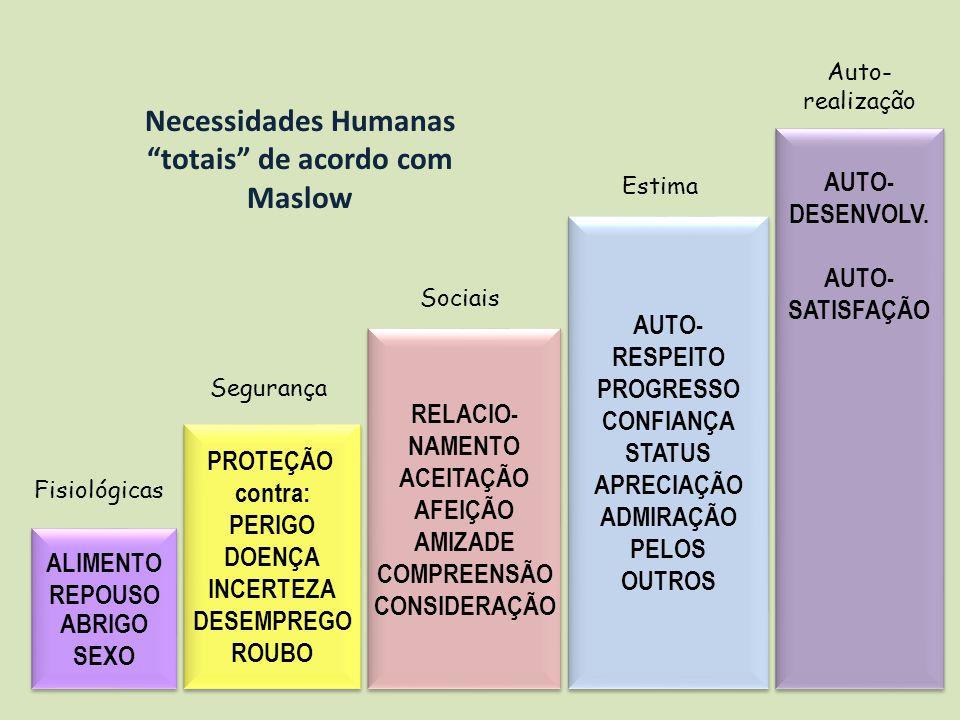 Necessidades Humanas totais de acordo com Maslow