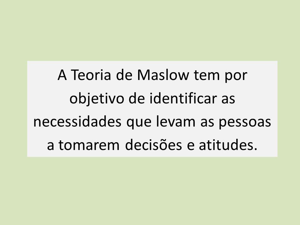 A Teoria de Maslow tem por objetivo de identificar as necessidades que levam as pessoas a tomarem decisões e atitudes.
