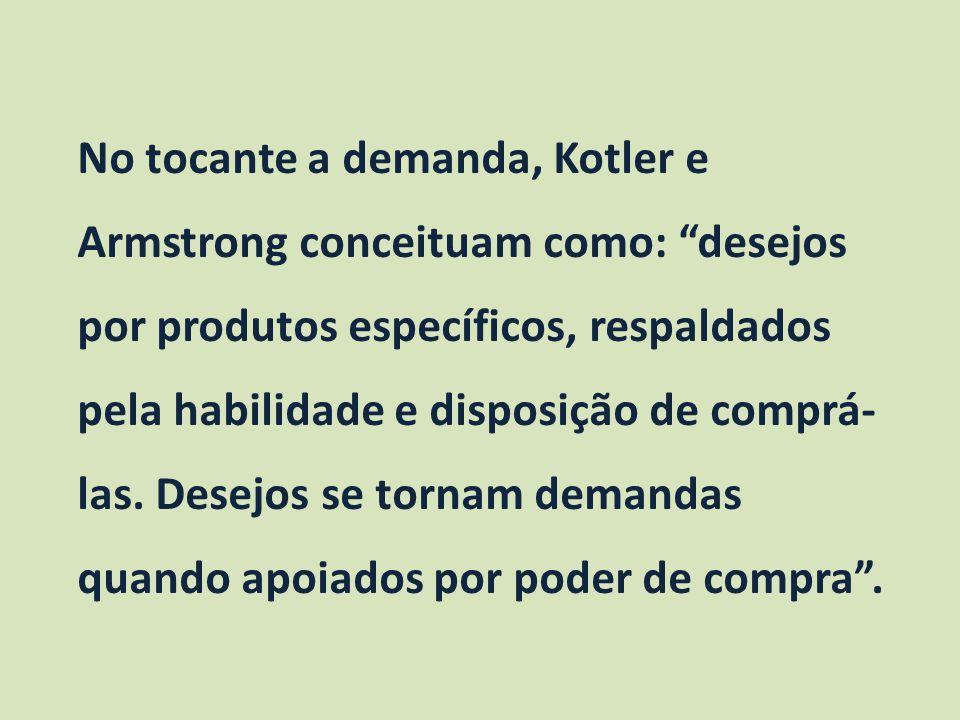 No tocante a demanda, Kotler e Armstrong conceituam como: desejos por produtos específicos, respaldados pela habilidade e disposição de comprá-las.