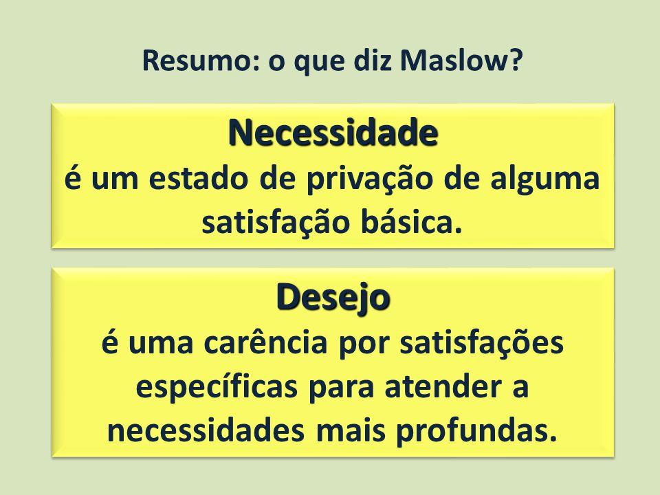 Resumo: o que diz Maslow