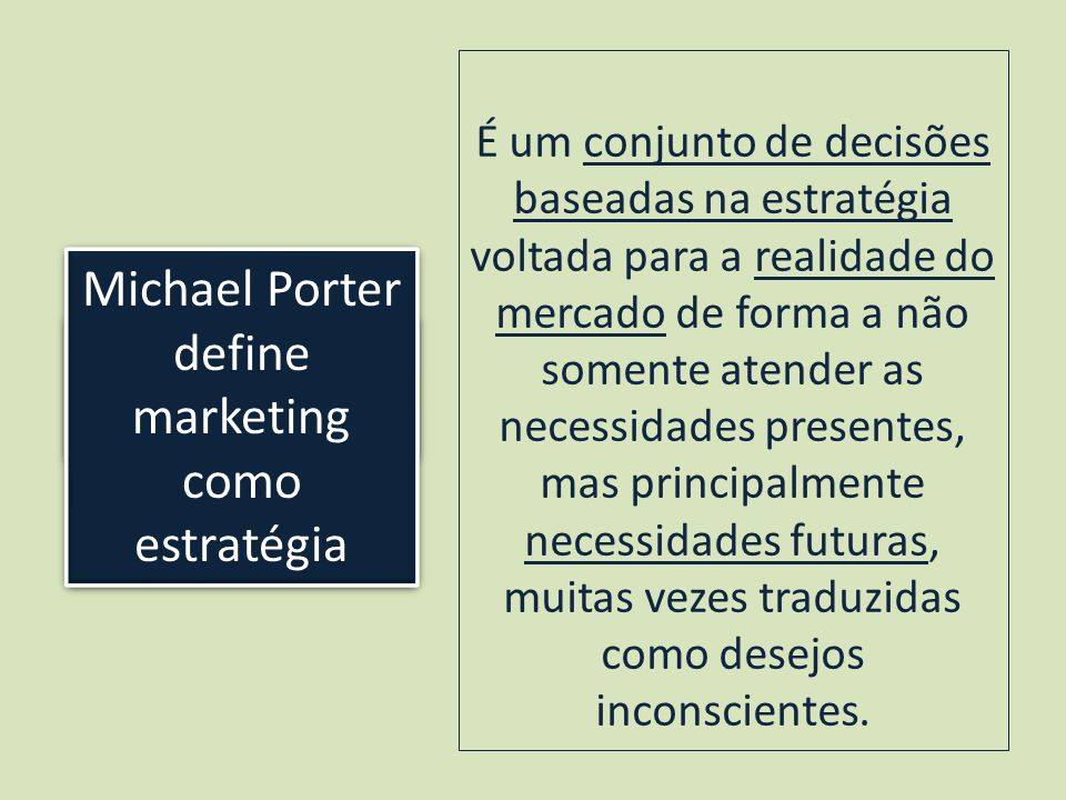 Michael Porter define marketing como estratégia