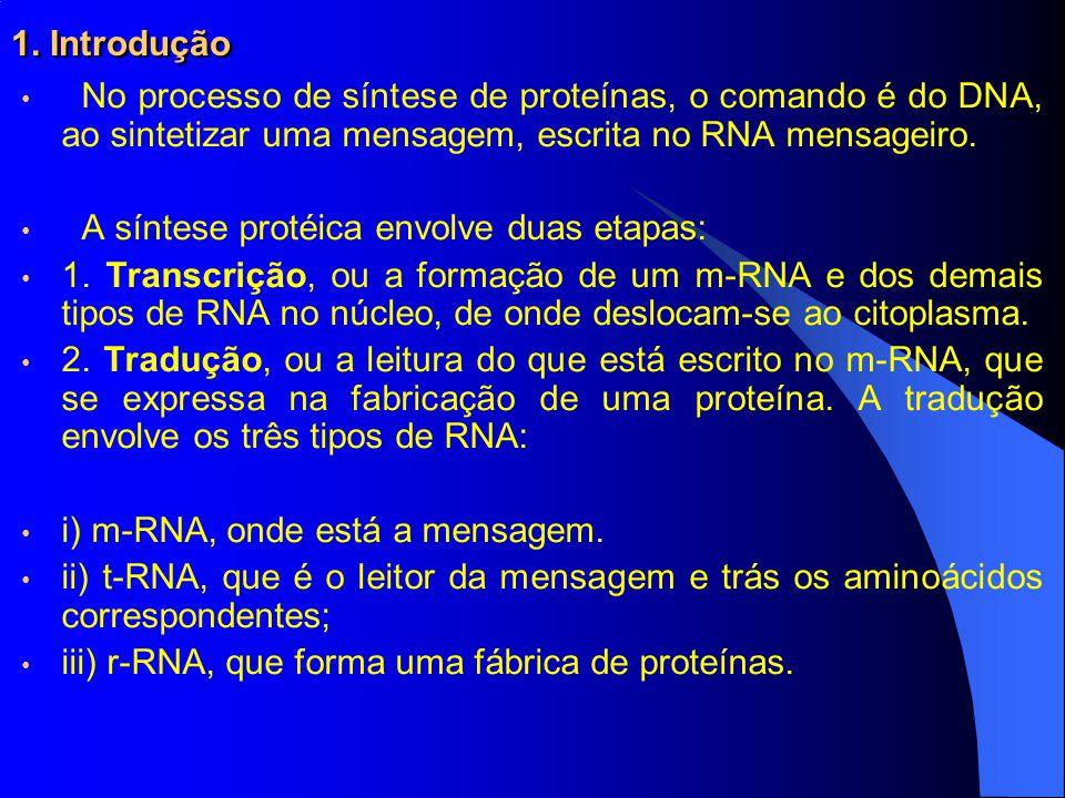 1. Introdução No processo de síntese de proteínas, o comando é do DNA, ao sintetizar uma mensagem, escrita no RNA mensageiro.