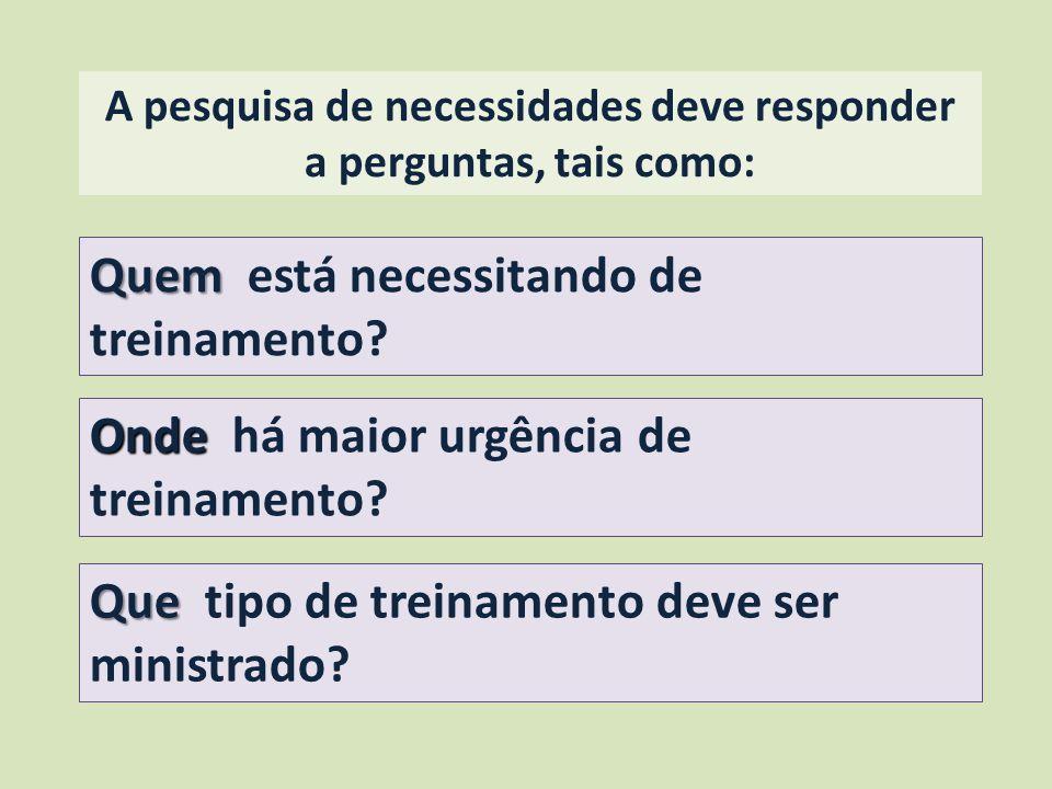 A pesquisa de necessidades deve responder a perguntas, tais como:
