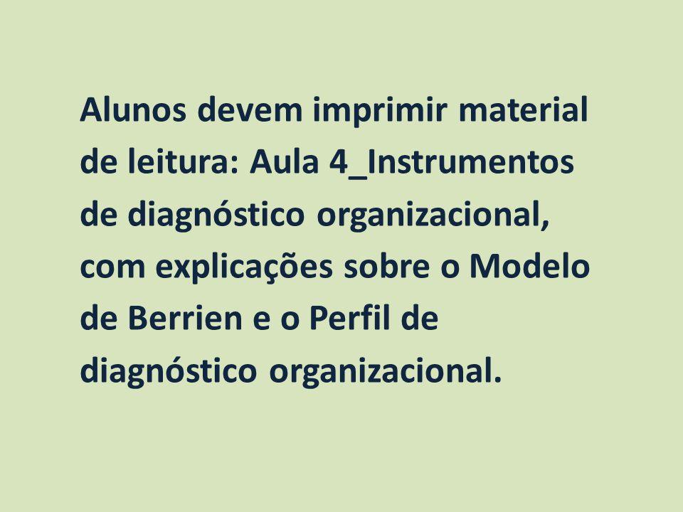 Alunos devem imprimir material de leitura: Aula 4_Instrumentos de diagnóstico organizacional, com explicações sobre o Modelo de Berrien e o Perfil de diagnóstico organizacional.