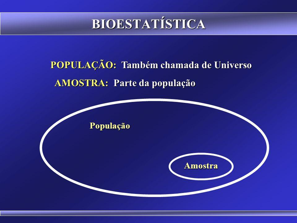 POPULAÇÃO: Também chamada de Universo