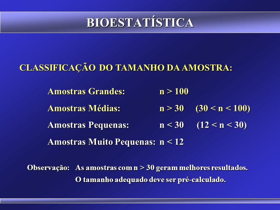 BIOESTATÍSTICA CLASSIFICAÇÃO DO TAMANHO DA AMOSTRA: