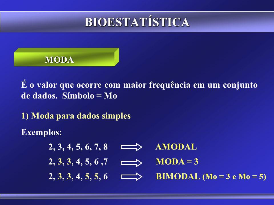 BIOESTATÍSTICA MODA. É o valor que ocorre com maior frequência em um conjunto de dados. Símbolo = Mo.