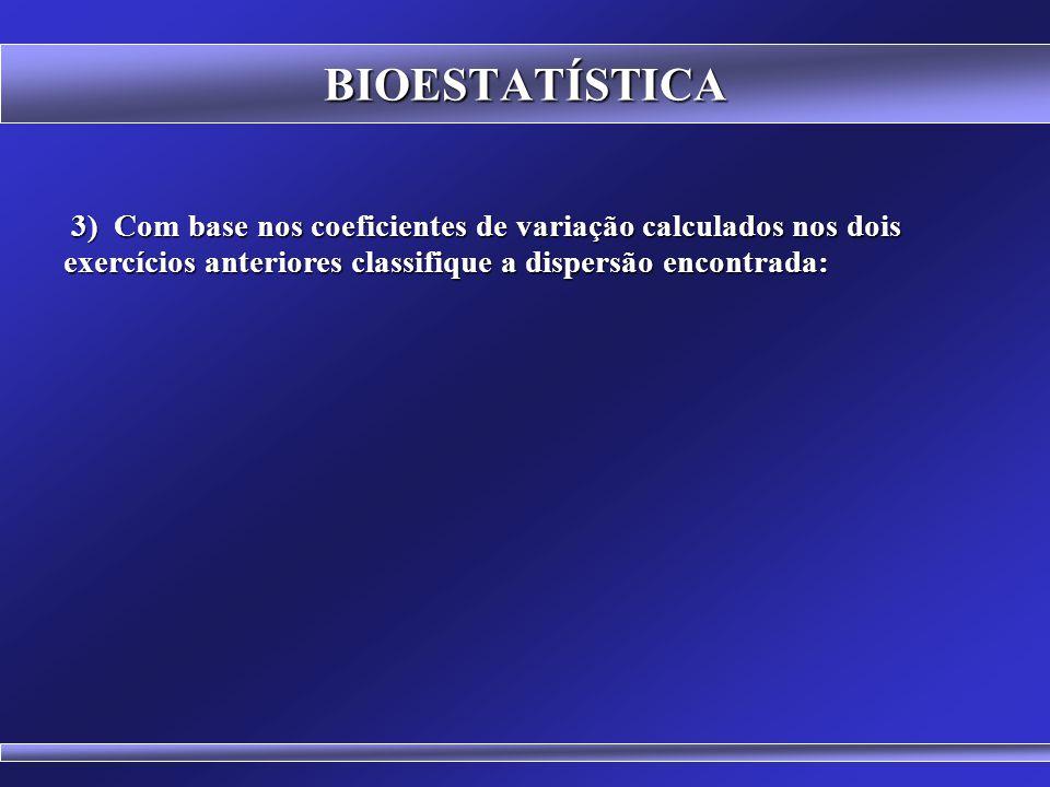 BIOESTATÍSTICA 3) Com base nos coeficientes de variação calculados nos dois exercícios anteriores classifique a dispersão encontrada: