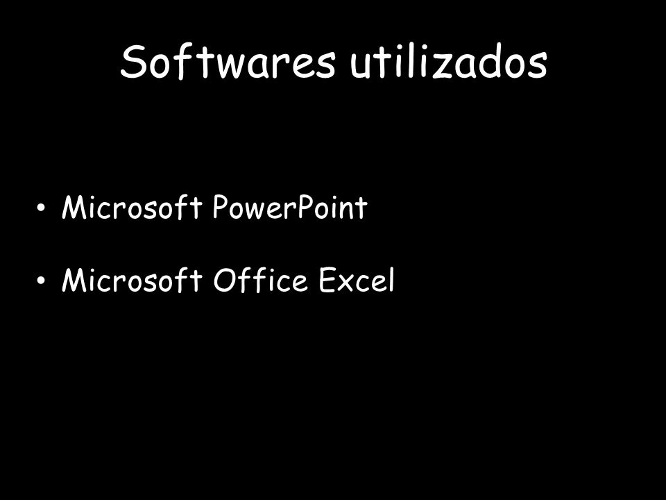 Softwares utilizados Microsoft PowerPoint Microsoft Office Excel