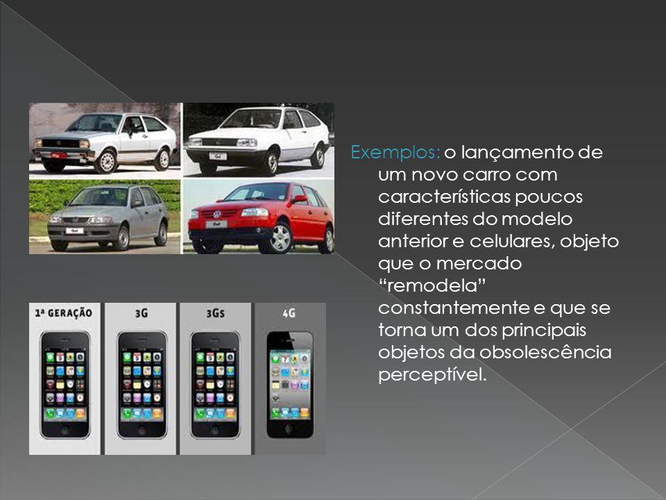 Exemplos: o lançamento de um novo carro com características poucos diferentes do modelo anterior e celulares, objeto que o mercado remodela constantemente e que se torna um dos principais objetos da obsolescência perceptível.