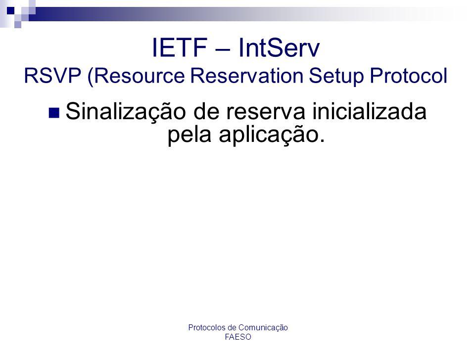 IETF – IntServ RSVP (Resource Reservation Setup Protocol