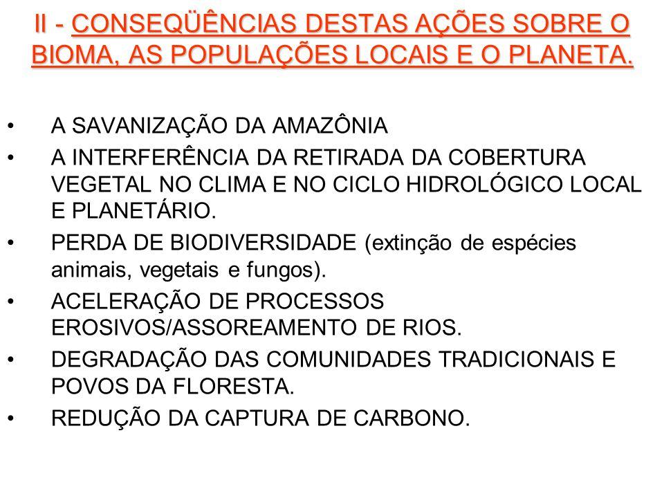 II - CONSEQÜÊNCIAS DESTAS AÇÕES SOBRE O BIOMA, AS POPULAÇÕES LOCAIS E O PLANETA.