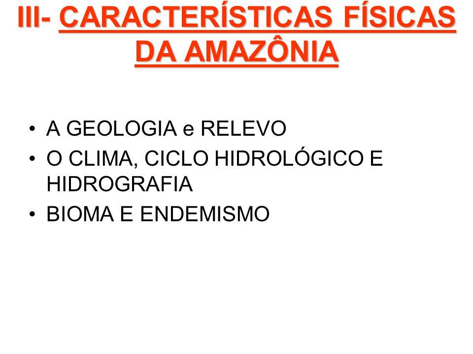 III- CARACTERÍSTICAS FÍSICAS DA AMAZÔNIA