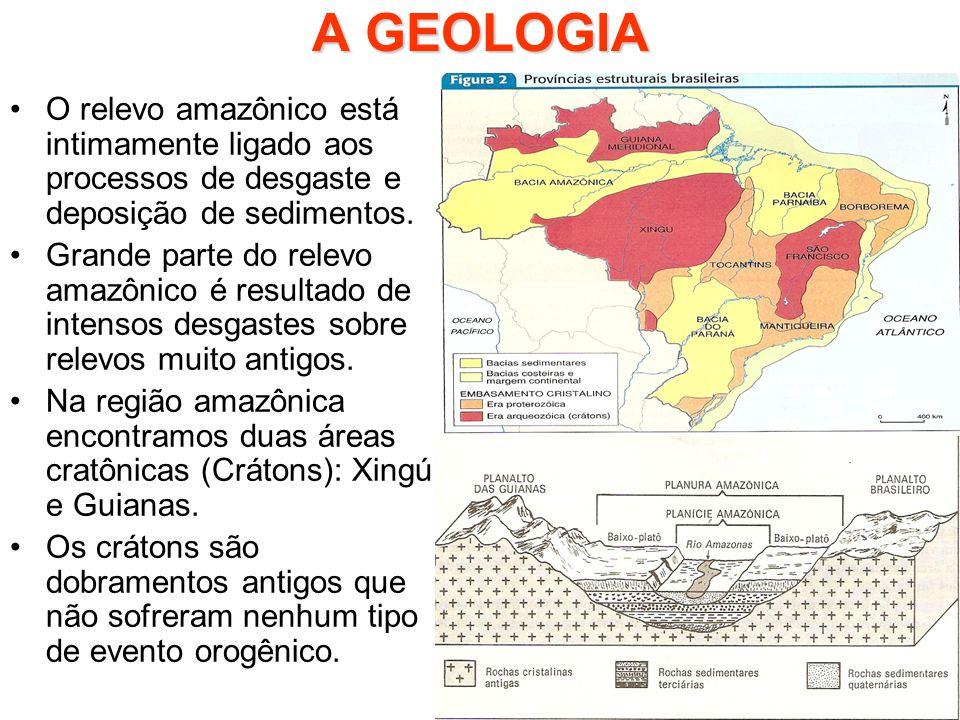 A GEOLOGIA O relevo amazônico está intimamente ligado aos processos de desgaste e deposição de sedimentos.