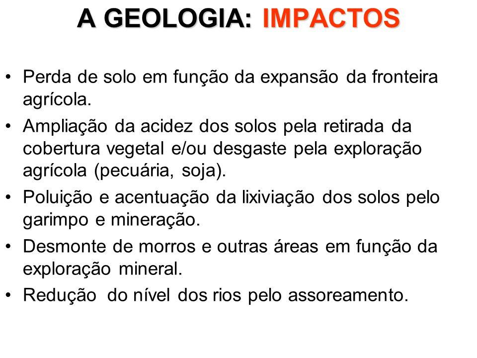 A GEOLOGIA: IMPACTOS Perda de solo em função da expansão da fronteira agrícola.