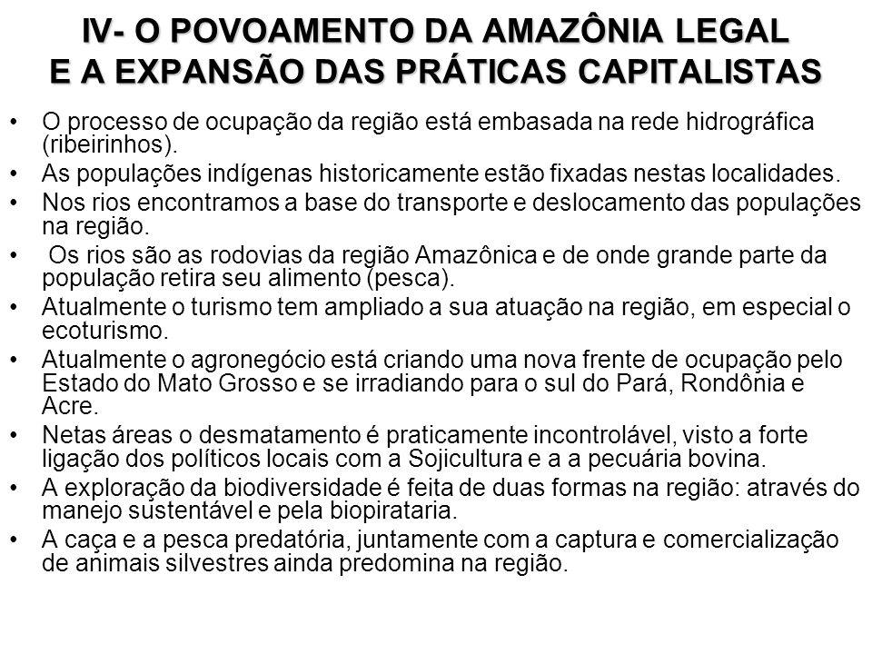 IV- O POVOAMENTO DA AMAZÔNIA LEGAL E A EXPANSÃO DAS PRÁTICAS CAPITALISTAS