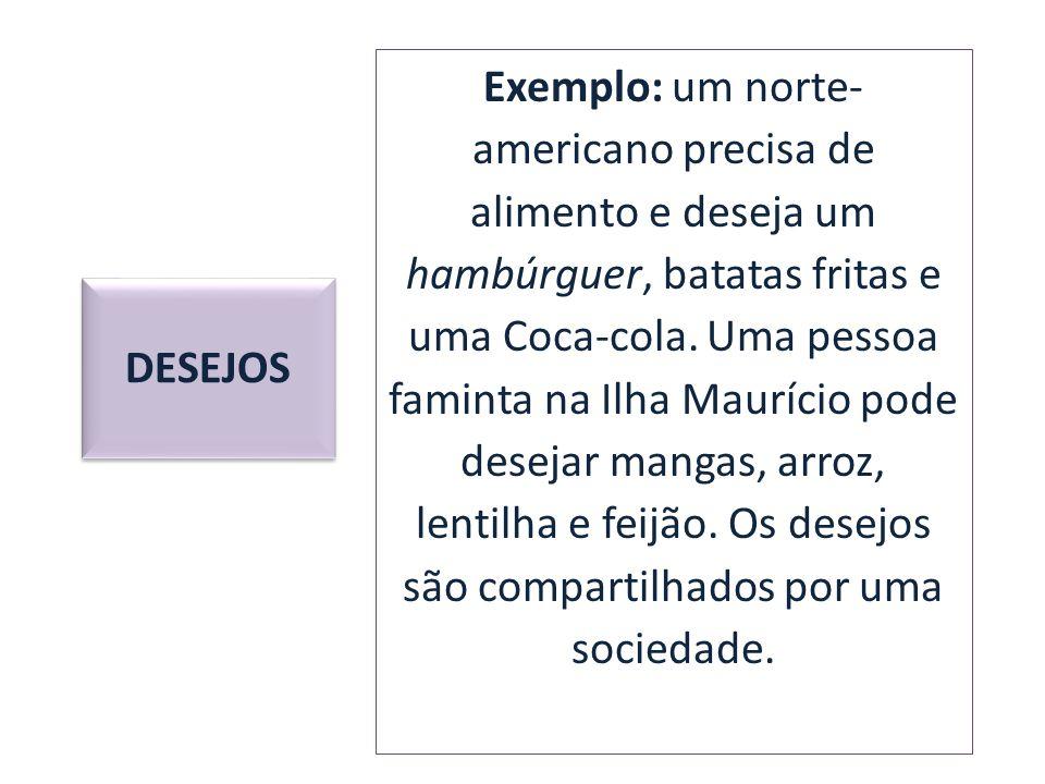 Exemplo: um norte-americano precisa de alimento e deseja um hambúrguer, batatas fritas e uma Coca-cola. Uma pessoa faminta na Ilha Maurício pode desejar mangas, arroz, lentilha e feijão. Os desejos são compartilhados por uma sociedade.
