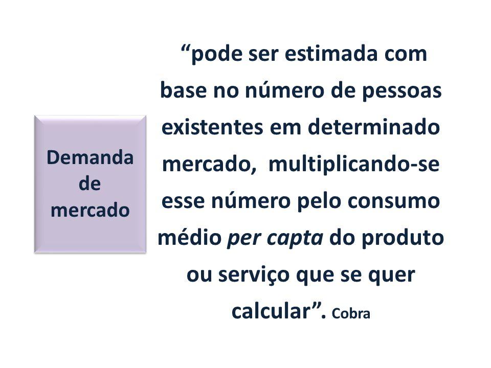 pode ser estimada com base no número de pessoas existentes em determinado mercado, multiplicando-se esse número pelo consumo médio per capta do produto ou serviço que se quer calcular . Cobra