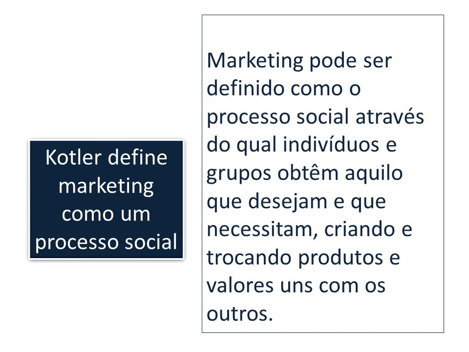 Kotler define marketing como um processo social