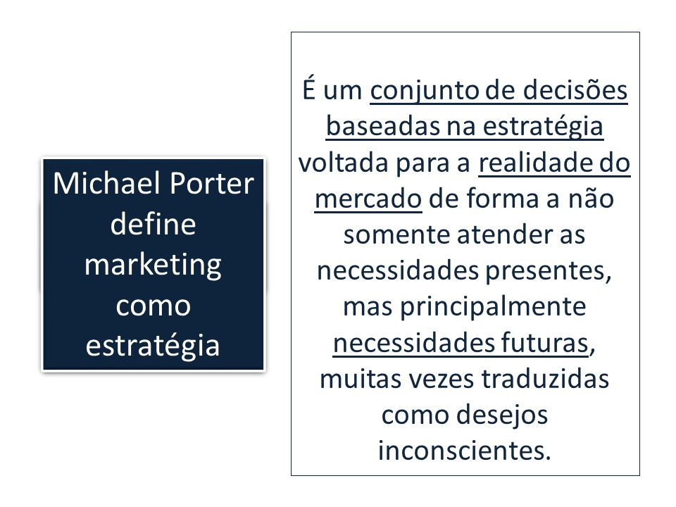 Michael Porter define marketing como estratégia