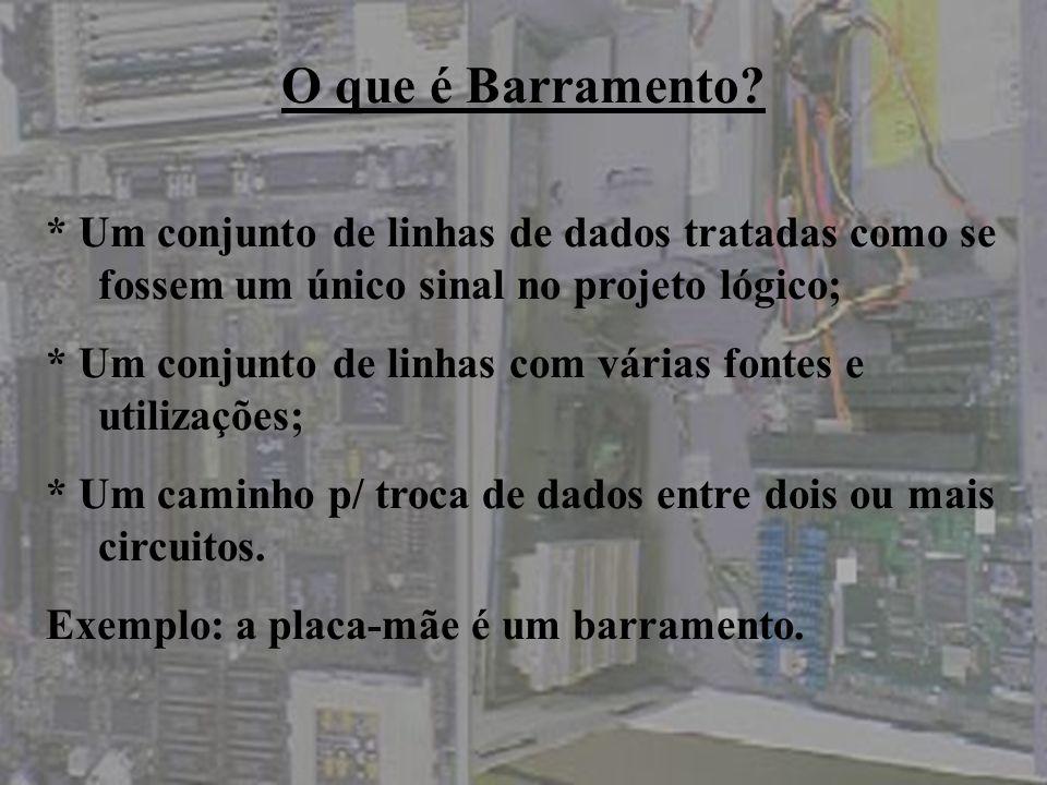 O que é Barramento * Um conjunto de linhas de dados tratadas como se fossem um único sinal no projeto lógico;