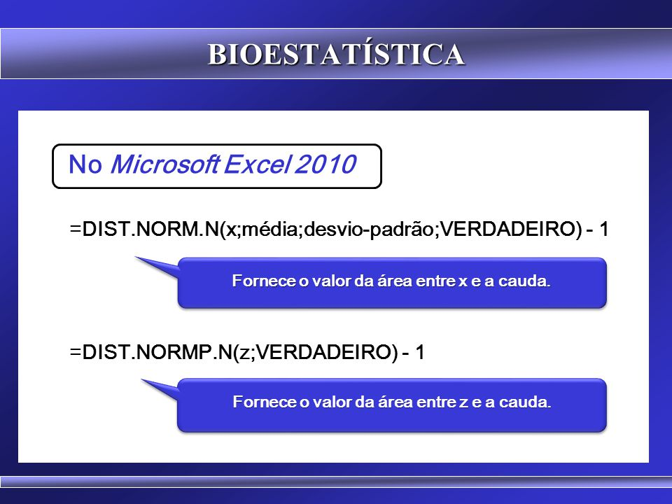 BIOESTATÍSTICA No Microsoft Excel 2010