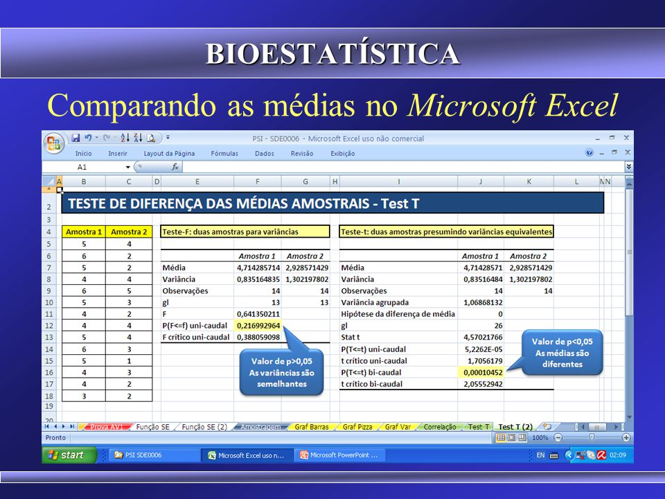 Comparando as médias no Microsoft Excel