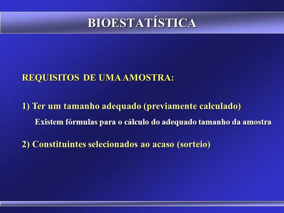 BIOESTATÍSTICA REQUISITOS DE UMA AMOSTRA: