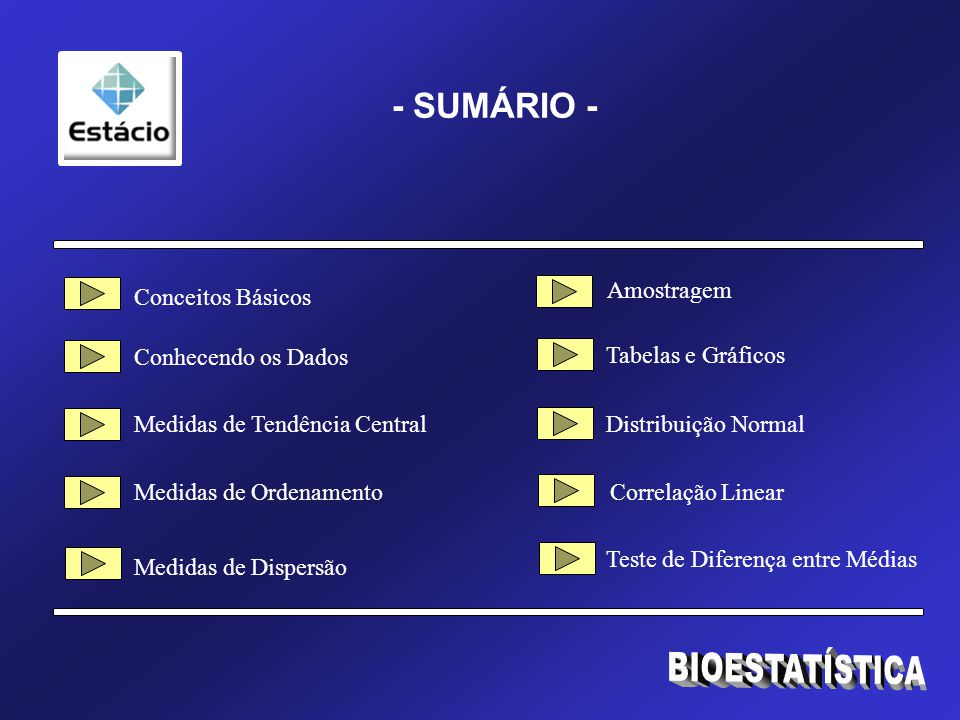 BIOESTATÍSTICA - SUMÁRIO - Amostragem Conceitos Básicos