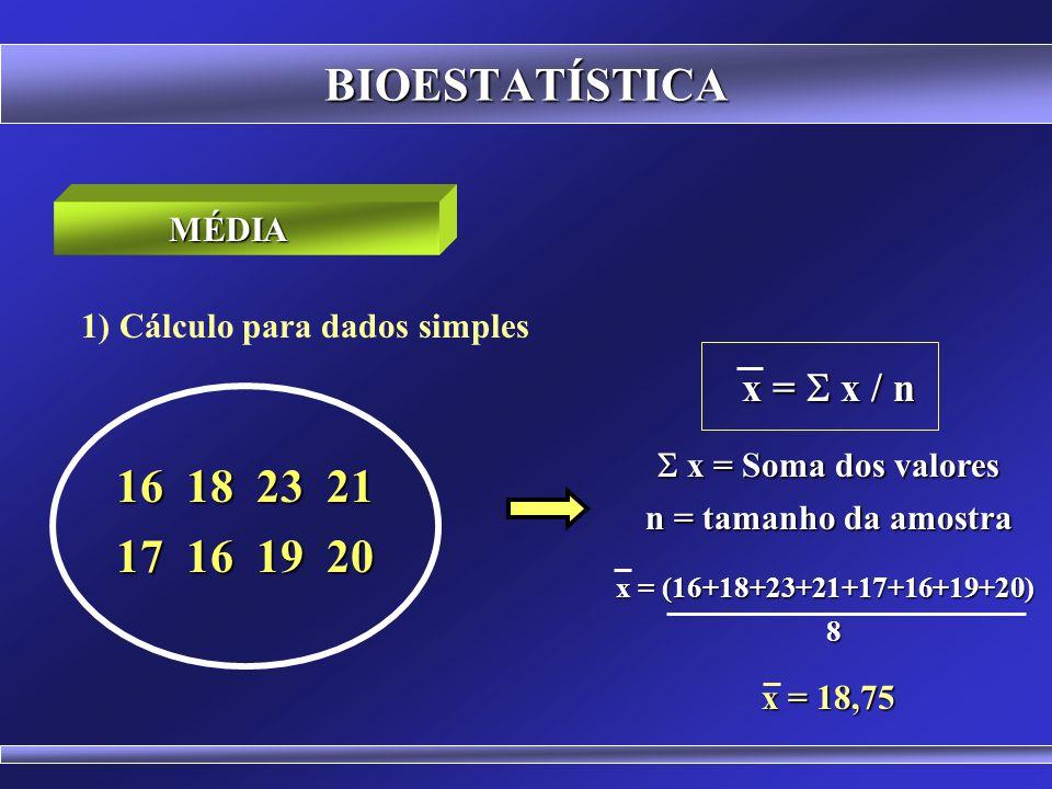 BIOESTATÍSTICA 16 18 23 21 17 16 19 20 x = S x / n MÉDIA