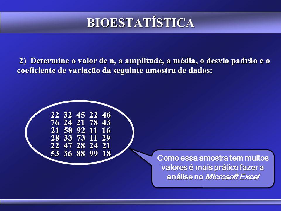 BIOESTATÍSTICA 2) Determine o valor de n, a amplitude, a média, o desvio padrão e o coeficiente de variação da seguinte amostra de dados: