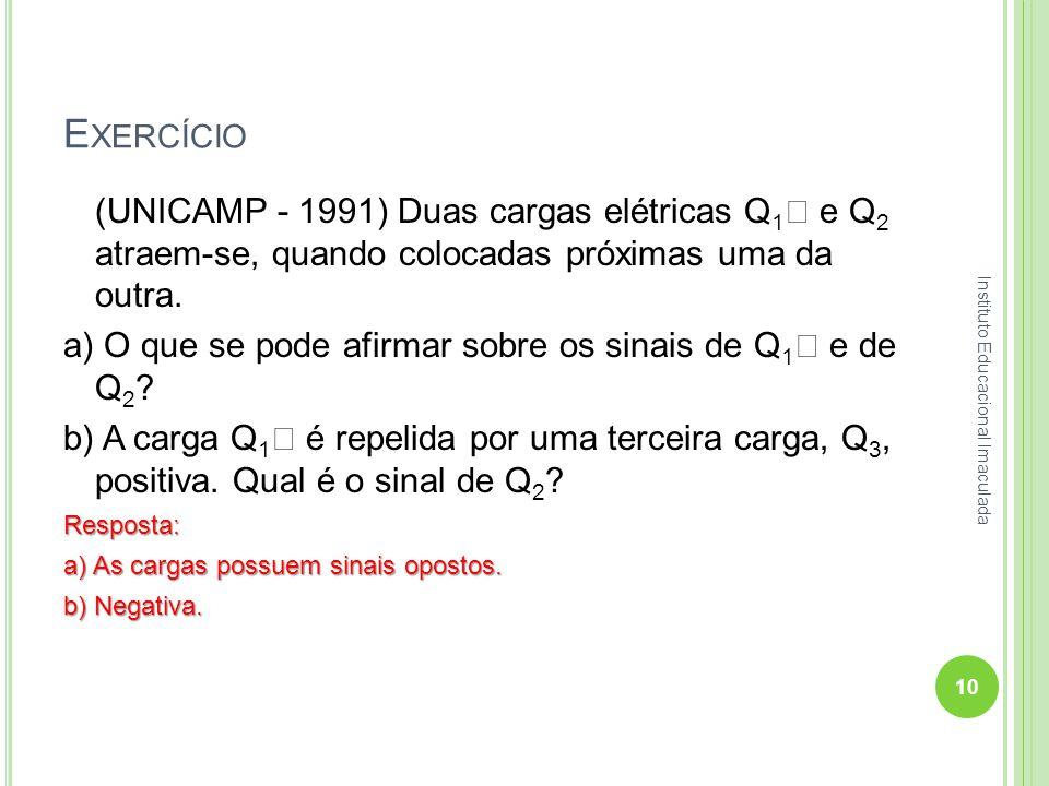 Exercício (UNICAMP - 1991) Duas cargas elétricas Q1 e Q2 atraem-se, quando colocadas próximas uma da outra.